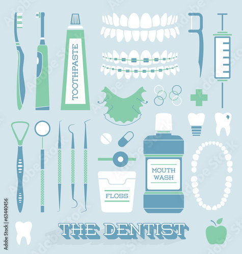 Vector Set: Dentist and Tooth Care Icons - 63440456