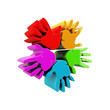 Hands success colorful 3D logo