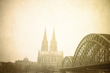 Vintage Gothic Cathedral in Cologne