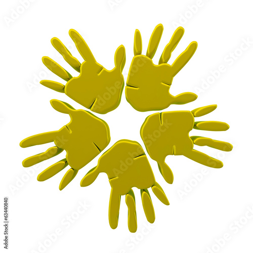 Hands success gold 3D graphic