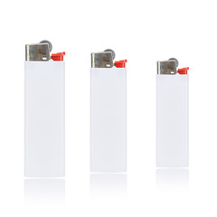 White cigarette lighter isolated on a white background