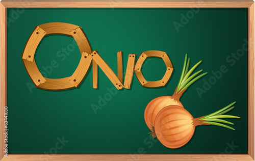 A blackboard with an onion