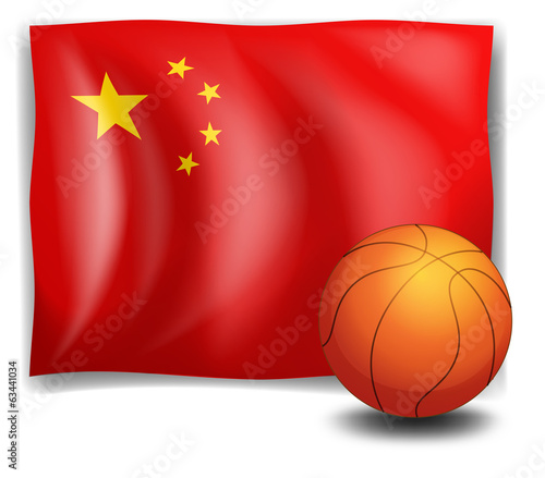 A ball in front of the Chinese flag