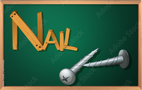 A blackboard with nails