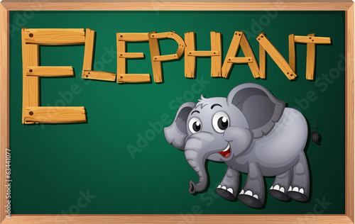A blackboard with an elephant