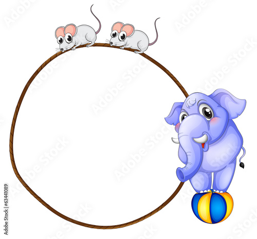 A round template with a blue elephant and playful mice