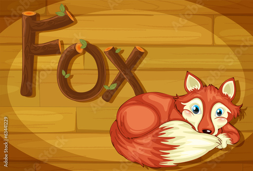 A wooden frame with a fox