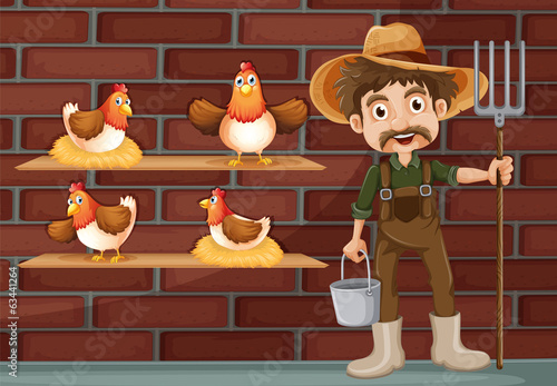 A farmer beside the four hens