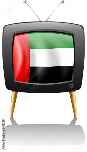 A television with the UAE flag