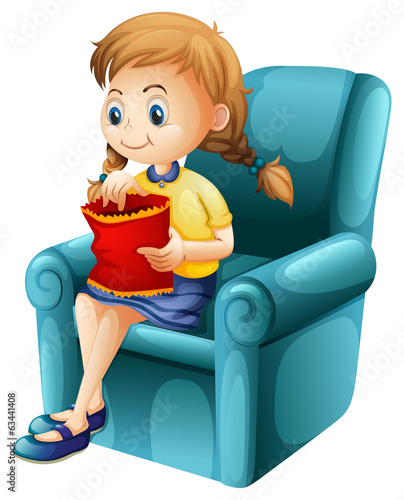 A girl eating junkfoods while sitting down