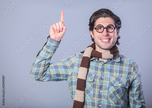 Portrait of funny man in glasses