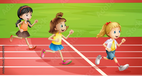 Three kids jogging