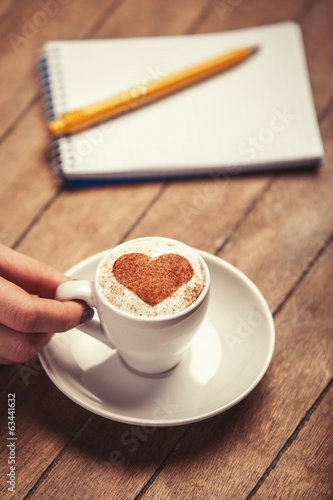 Cup of сoffee with shape heart