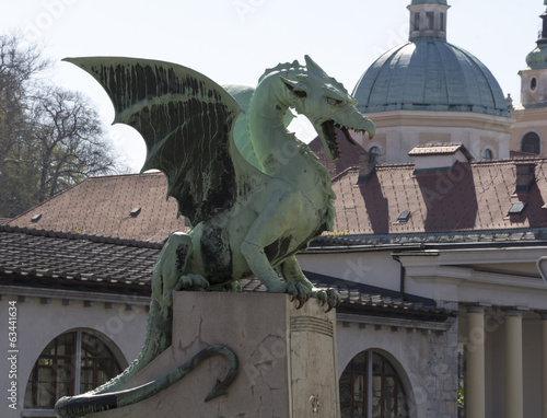 Dragon bridge with the church and marketplace in the background