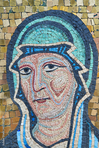 Mosaic of Mother Mary. Byzantine Style, Sicilian School..