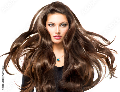 canvas print picture Fashion Model Girl Portrait with Long Blowing Hair