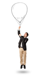 Happy man holding balloon drawing