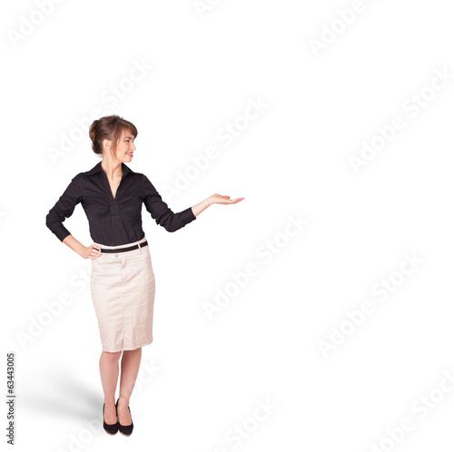 young woman presenting white copy space