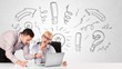 Businessman and businesswoman brainstorming with drawn arrows an