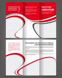 Trifold beauty red brochure print template design poster