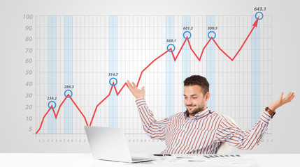 Businessman calculating stock market with rising graph in the ba
