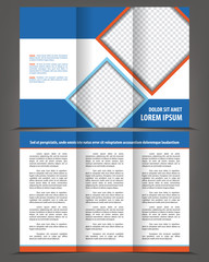 Vector empty trifold brochure template blue design