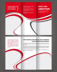 Trifold beauty red brochure print template design