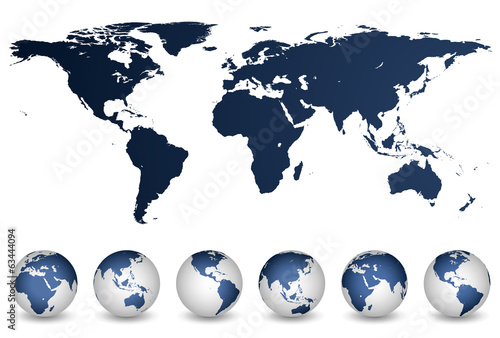 Detailed world map and globes