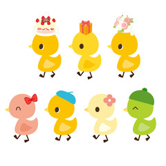 プレゼントを運ぶ小鳥 お洒落をした小鳥