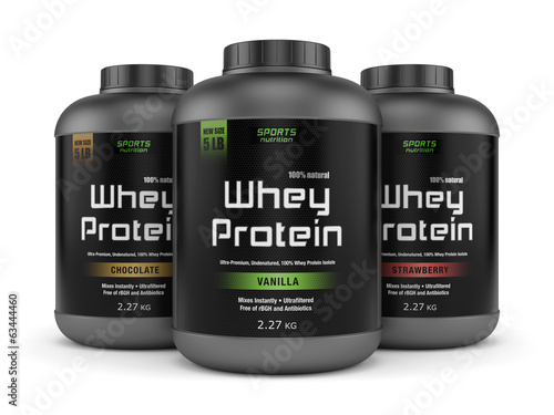 Leinwandbild Motiv Three whey protein jars isolated on white