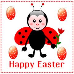 Biglietto di Pasqua con coccinella