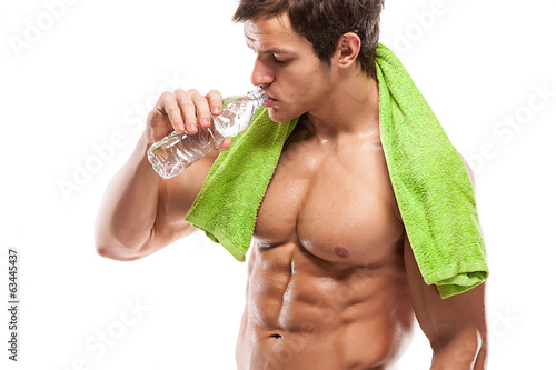 Strong Athletic Man Fitness Model drinking fresh water over whit