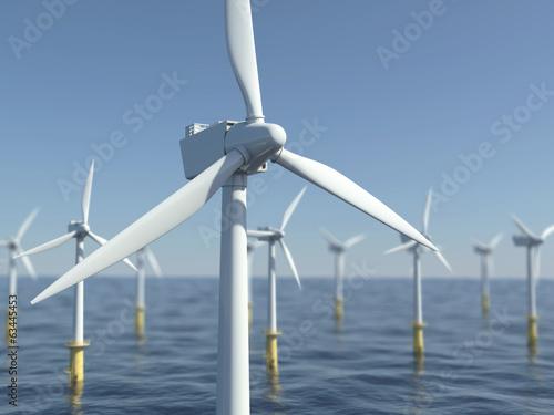 Leinwanddruck Bild Windrad - Offshore