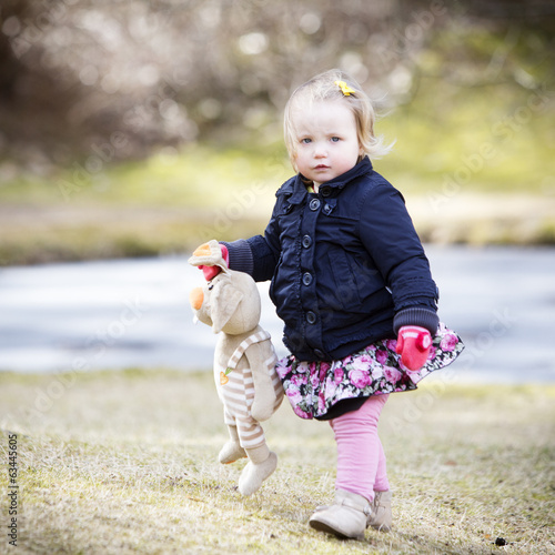 Little girl in Spring outdoors