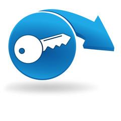 clef sur bouton bleu