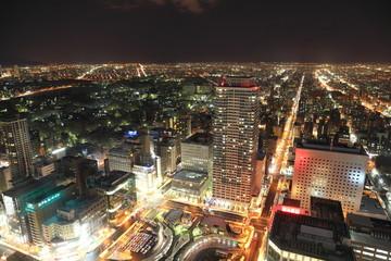 Night view of Sapporo in Hokkaido, Japan