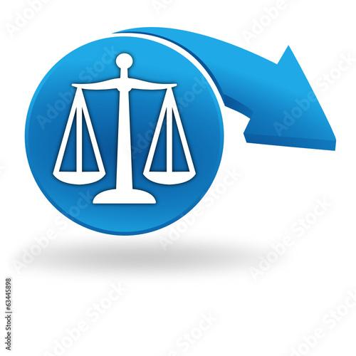 justice sur bouton bleu