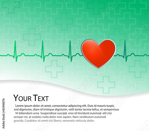 Vector medical background, red heart on green with EKG line