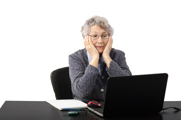 Emotional old lady having skype conversation