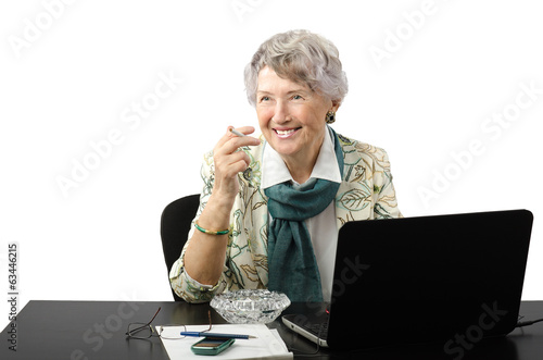 Amazing old business woman asking lighter