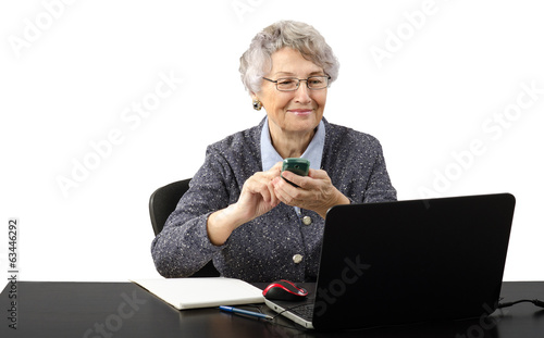 Grey haired old business lady calling by phone during skype conv