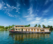 canvas print picture - Houseboat on Kerala backwaters, India