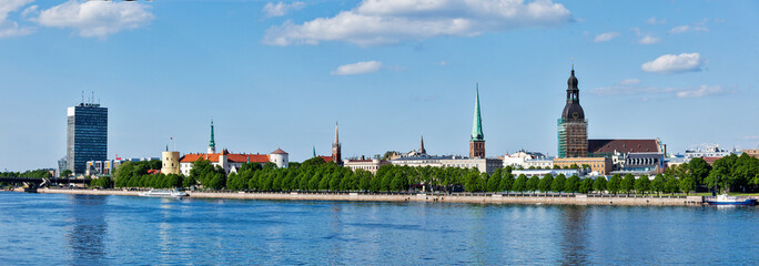 Panorama of Riga over Daugava river