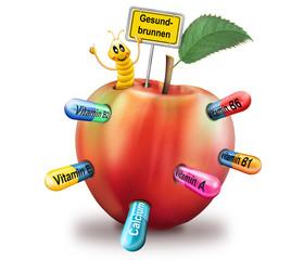Apfel mit Made und Vitamine