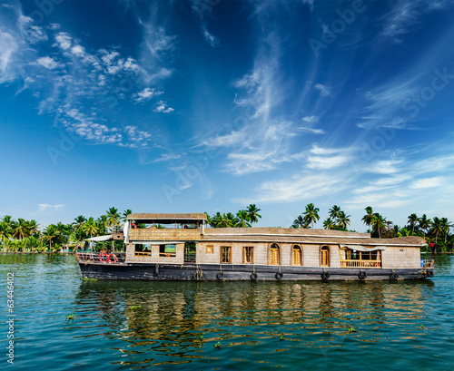 canvas print picture Houseboat on Kerala backwaters, India