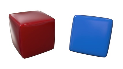 Two rotating cubes.Includes alpha matte and green screen.