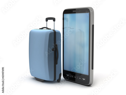 Cell phone and travel bag on white background