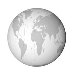 ジグシーパズルの地球儀
