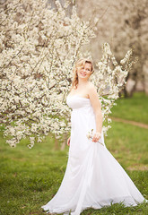 beautiful blonde girl in spring cherry garden