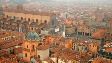 Italy, Bologna. Aerial view from Asinelli tower